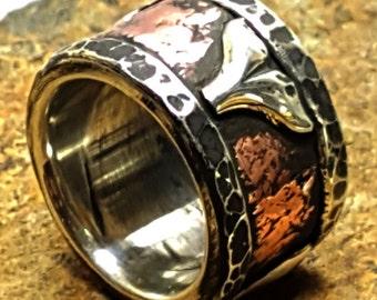 Silver Copper Band Wale Tale Design