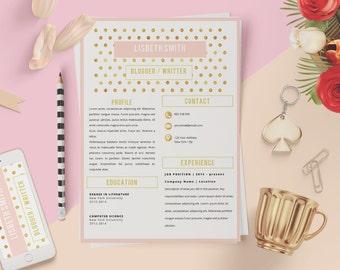 Elegant résumé. Professional resume. Elegant cv. Elegant curriculum vitae. Free cover letter. Page of references. Golden curriculum. Gold