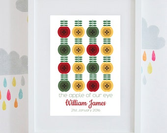 The Apple of My Eye new baby personalised print gift retro style available framed or unframed boys or girls