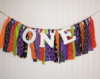 Halloween, Fabric Banner, Birthday, Party Decor, Highchair, Cake Smash, Photo Shoot, Mantle, Back Drop, Rag Tie