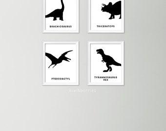 Black and white dinosaur prints - Monochrome decor - Dinosaur art prints - Dinosaur print set - Dinosaur names - Pterodactyl brachiosaurus