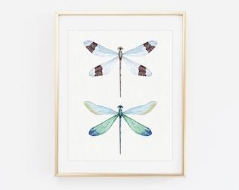 Dragonfly wall art - Printable dragonfly art - Affordable home decor - Dragonflies print - Hand drawn prints - Printable house decor