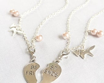 Silver Best Friends Necklaces with Fox Charms, Set of Two Friendship Necklaces,Bff Necklace,Friendship Necklace Set,Best Friends,Bff,Friends