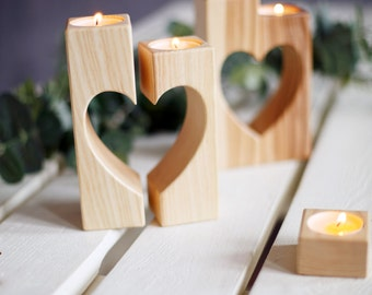 Heart Candle holders Wooden Candle Holder Rustic Candle Holder Wedding Gift Personalized Wedding Decorations Engraved Candle Holder