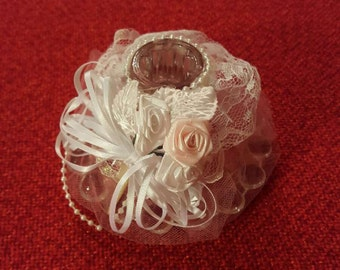 Wedding/Anniversary  Center Piece Table Top Candle Holder With Hand Made Skirt Roses 8 Piece Set