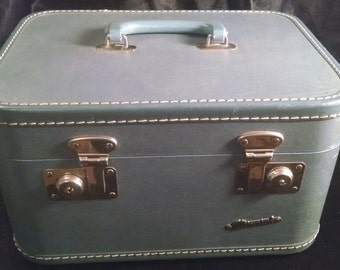 Vintage Train Case, Train Case, Blue Train Case,  Storage, Blue, Vintage Suit Case, Luggage, Suit Case, Monarch Train Case, Home Decor