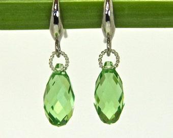 Green Peridot Swarovski Earrings, Green Crystal Earrings, Green Sterling Silver Earrings, Green drop earrings, Last minute gifts for her