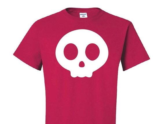 Cute Skull Logo, Original Art T-Shirt, Cartoon Skull tshirt, Red skull tee, Day of the Dead Skull shirt, Halloween gift, candy skull, gifts