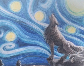 Wolf done in Van Gogh style starry night.