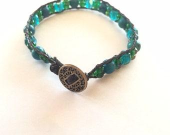 Teal Blue Green Beaded Wrap Bracelet Woven Bracelet
