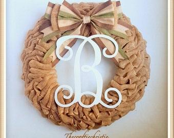 Front Door Wreath-Fall Wreath-Monogram Burlap Wreath-Front Door Fall Wreath-Rustic Fall Burlap-Initial Wreath-Thanksgiving Wreath-Fall Decor
