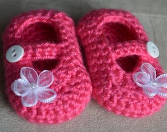 Mary Jane booties, Newborn flower bootie, Pink shoe, Pink baby shoe, Flower shoe, Girl bootie