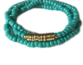 Triple Wrap Gold and Turquoise Bracelet