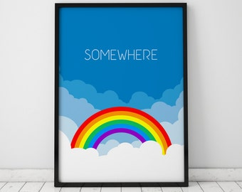 Somewhere Print, Judy Garland, Wizard of Oz Quote, INSTANT DOWNLOAD