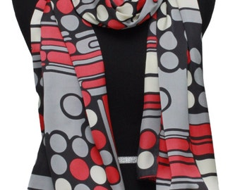 Red and grey scarf,Silk scarf,Polka dots scarf,Stripes scarf,Long silk scarf,Silk scarf for women,Holiday gift,