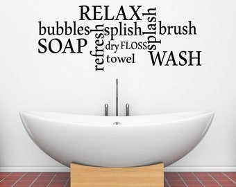 Bathtime Words Vinyl Wall Decal Sticker for your Bathroom