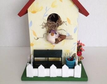 Hand-Painted Garden Birdhouse