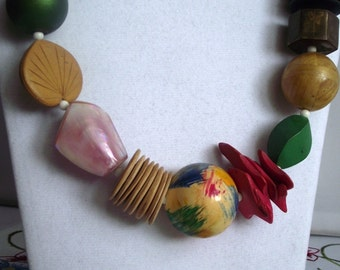 "Fun Chunky Wooden Beaded 26"" Necklace"