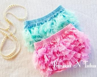 Baby Diaper Cover, Ruffle Bloomer, Pink Diaper Cover, Blue Diaper Cover, Baby Clothes, Newborn Bloomer, Elegant Blomer, Lace Diaper Cover,