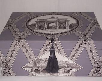 Large box, organizer, Manuel Canovas fabric, Paris monuments, decorative box