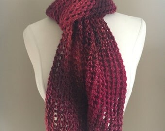 Knit Red Lacy Winter Scarf Handmade Accessories Ready To Ship