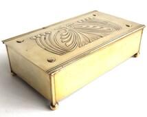 Antique Brass Cigar Box, Carl Deffner, Esslingen, Germany, Hinged Copper Box, Cigar Casket, Art Nouveau design. #5E8G9C4K3F