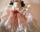 Angel Ornament, Christmas Tree Ornament, Angel Decor, Pink Christmas, Shabby Christmas Decor, Victorian Christmas Ornament, Christmas Decor
