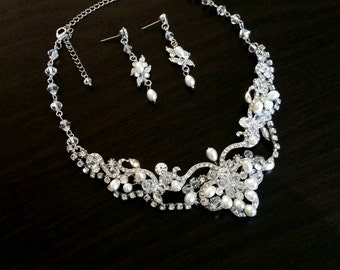 Vintage Bridal Jewelry Silver Set Pearl Drop Earrings and Necklace Dangal Bridesmaids Earring Beach Wedding Party Swarovski Vine Accessories