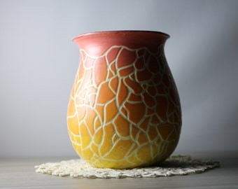 Pink Orange Yellow Ombré Sgraffito Vase
