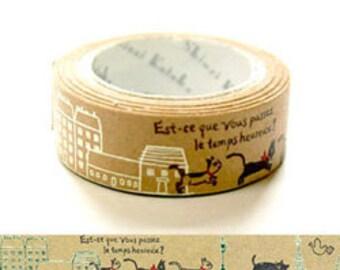 Shinzi Katoh Metallic Kraft Paper tape - Paris Cats.