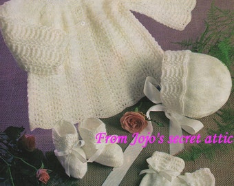 PDF 3 Ply Knitting Pattern for Baby's  Layette
