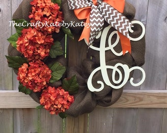 Fall Wreath, Fall Hydrangea Wreath, Fall Burlap Wreath, Burlap Wreath, Monogram Fall Wreath