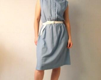 SALE 50% Vintage 70's Dress Grey blue Sleeveless Shirt Dress Midi Sheath dress High collar Dreamy mandarin collar