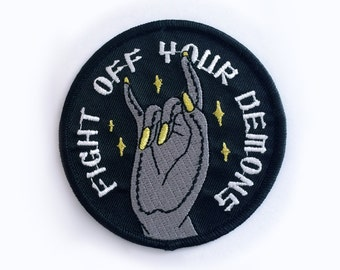 Fight Off Your Demons embroidered Patch -Life Club- punk patch, lapel pin, yoga meditation, iron on patch, buddha, buddhist, hand