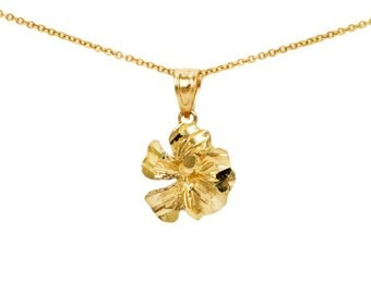 10k Yellow Gold Flower Necklace