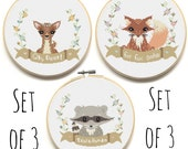 PATTERN TRIO - Set of 3 Modern Cross Stitch Patterns - Instant Download - Woodland Creatures - Counted Cross Stitch Chart - Fox Deer Raccoon
