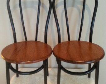 Pair of Vintage Thornet Style Industrial Bent Metal Bistro Cafe Chairs Walnut Seats
