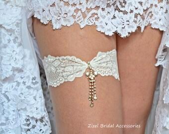 Ivory Wedding Garter, Rhinestone Garter,  Lace Garte Set, Bridal Garter, Rhinestone Bridal, Ivory Bridal Garter, Handmade Garter,Toss Garter