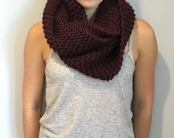 Maroon Wool Blend Knit Infinity Scarf