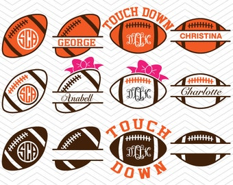 Football Balls Monogram split Frame DXF SVG EPS rugby bow Cricut Design, Silhouette studio, Sure Cuts A Lot, Makes the Cut, instant Download