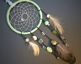 Green Ribbon Glass Beaded Car Dream Catcher with Iridescent Feather - Hanging Ornament - Home Decor - Wall Art - Perfect Gift