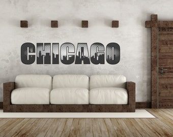 Chicago Skyline Wall Decal- chicago, illinois, chicago skyline, wall art, living room, skyline view, downtown, downtown chicago