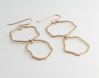 Long Drop Earrings Free form Organic Hoop Earrings Gold dangle Earrings,Double Hoop Earrings,Organic Shapes,Gold Earrings,Modern Jewelry