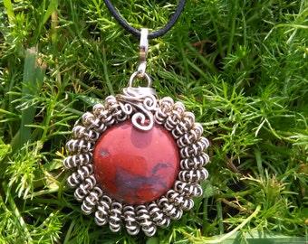 Hand-crimped red Jasper in German silver. PabloPietra