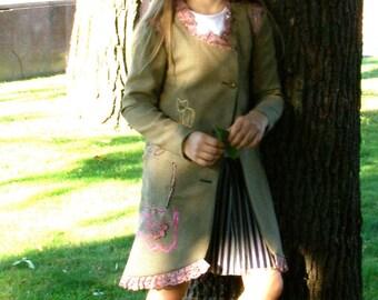 jacket embroidered knee legth jacket