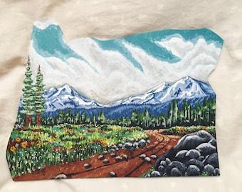 THREE SISTERS OREGON - original painting Oregon shaped