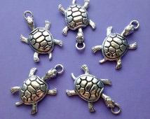 4 pcs - Turtle Tortoise Charm - Tibetan silver - CS2025