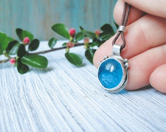 Blue glass pendant necklace Metalwork jewelry Fine silver Bohemian Gift for girlfriend