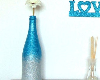 Two Toned Blue and Silver Glitter Vase