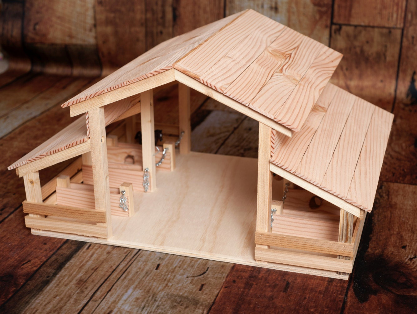 Handmade Wood Toy Barn with 8 Stalls